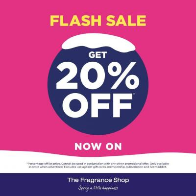 @FragranceShopUK  FLASH SALE returns until Sunday! Head in-store between 12pm and 3pm Thursday-Sunday this week and enjoy 20% off! 😍