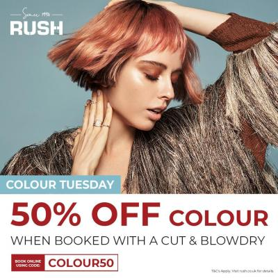 It's time to get Summer ready with @RUSHHairBeauty  Enjoy 50% OFF Colour, when booked with a Cut & Finish every Tuesday until the 26th of October 2021!⠀ ⠀ #waltononthames #heartshopping #hair #beauty #offer #promotion