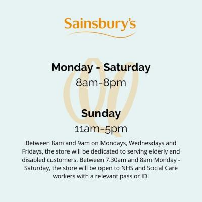 Topping up the cupboards this weekend? Here are the current opening times for @sainsburys in Walton-on-Thames